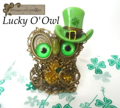 Lucky O'Owl the steampunk irish owl by Rouages-et-Creations