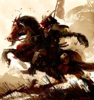 Samurai on horse back by TwoTonne
