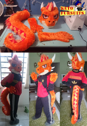 Commision - Ember partial fursuit by Keto-Pagano