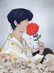 Skulls and Flowers by Idamessygirl