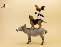 Miniature 1:12 Bremen Musicians sculpture by Pajutee