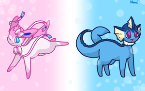 Sylveon and Vaporeon by Supercyborgdino