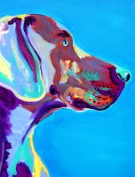 Weimaraner in Blue by dawgart
