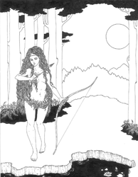 The Huntress (pre color) by DarkDevi