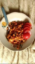 Scrambled eggs with tomatoes and onion leaves  by Beathyra