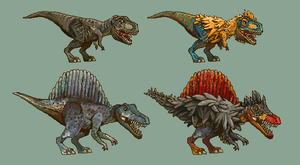 Pixel Spinosaurus and T-rex by AjamsDraws