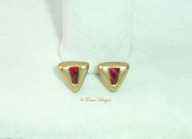 14K Gold Swarovski Goron Ruby Post Earrings LOZ by TorresDesigns
