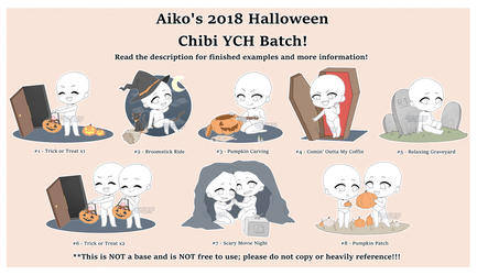 [YCH OPEN!] Aiko's 2018 Halloween Chibi YCH Batch! by blushingbats