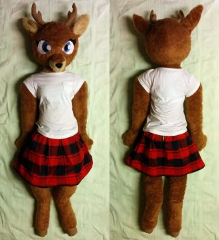 Life-size anthro reindeer girl plush - sold by Liggliluff