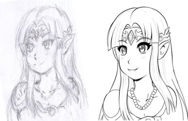 Sketch to lineart - Zelda by At-Leon