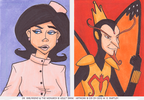 Doctor Girlfriend and The Monarch ATCs by generalmanx