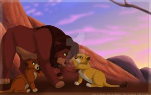 Kovu and Cubs by Batnamz