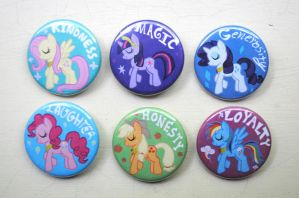 My Little Pony Buttons - Elements of Harmony Set by pookat