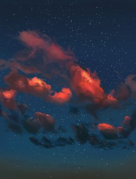 Pink Clouds On Blue Sky by pinkiecitrine