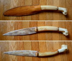 Yew Wood and Wolf Bone Ritual Blade by Lolair