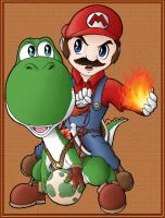 Mario and Yoshi Colored by Kevichan