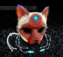Turquoise Amethyst Siamese Cat Mask 1 by merimask