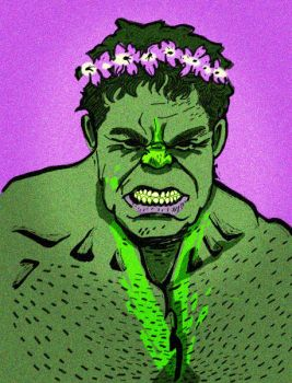 Hulk wearing a floral crown by erbalupina