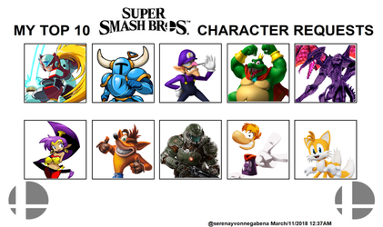 My Top 10 Smash Brothers Switch Character Requests by SebastianLR