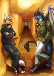 {Commission} - Chitchat in the hallway by LeoKatana