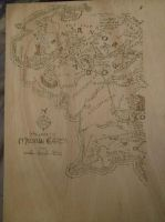 WIP Pyrographied Middle Earth Map by Envorenn
