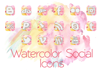 Watercolor Social Icons by phampyk