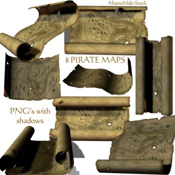 Pirate Map Stock by Moonchilde-Stock