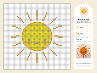 Kawaii Sun Free Cross Stitch Pattern by apparate
