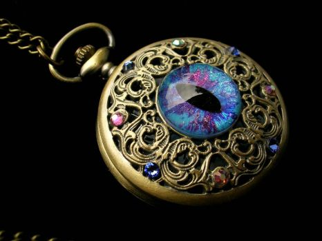 Pocket Watch - Unicorn Blue Pink Purple Teal by LadyPirotessa
