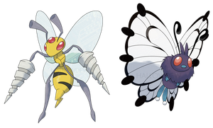 MEGA BEEDRILL and MEGA BUTTERFREE