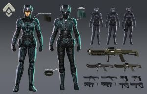 Female Soldier Concept Sheet by stonepro