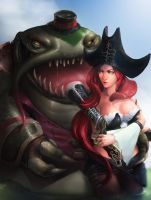Tahm Kench and  Miss Fortune by KORHIPER