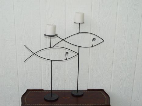 Fish Candle Set by GreatLakesMetalWorks