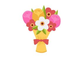 Bouquet Of Flowers Free Flat Vector by superawesomevectors