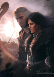 Geralt And Yennefer by shalizeh