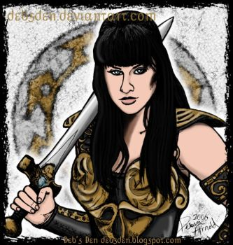 Xena posing with her sword. by Xena-Fan-Club