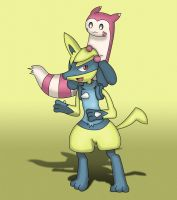 Lucario and Furret by EvanDaMaster