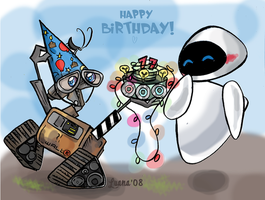 EVE and WALL E Birthday by CrazyLulu