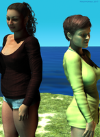 Four-colour lighting: Fraise and Ellery by the sea by niauropsaka
