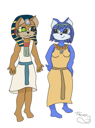 Request #44-Egyptian Fox McCloud and Krystal by riverofchaos1125