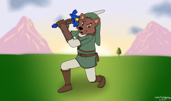 Commission drawing-Aaron the Wolf as Link by StefanTheHedgehog