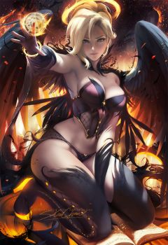 Halloween Angel Mercy pinup by sakimichan