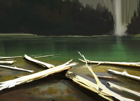 Logs and water - Sketch by antonjorch