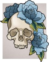 Skull and  Blue Peonies by mad-smile