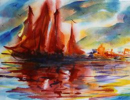 Fire red sails in East fairy tale by Mishelangello