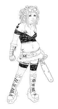 . chainsaw girl . to color . by karincoma