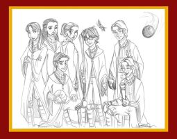 The Gryffindor Quidditch Team of Oliver Wood by kuabci
