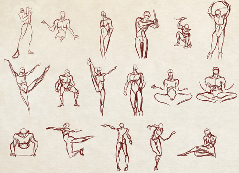 Moar 2 Minutes Poses [SpeedDrawing Video Included] by Dex91