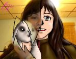 Tailslover42 and her bunny as anime by tetokasane-04