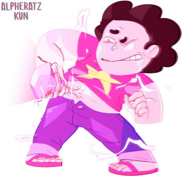 Steven taking his gem off by AndromedaeAlpha